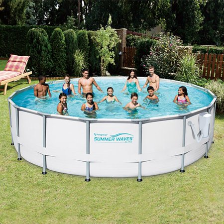 Summer Waves Elite 16 Ft Metal Frame Above Ground Pool Set With Filter Pump Walmart Com