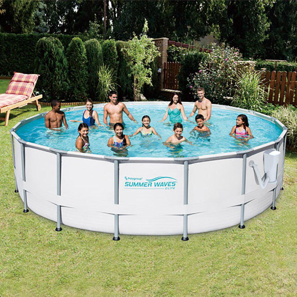 Summer Waves Elite 16' Ft. Metal Frame Above Ground Pool Set with Filter Pump