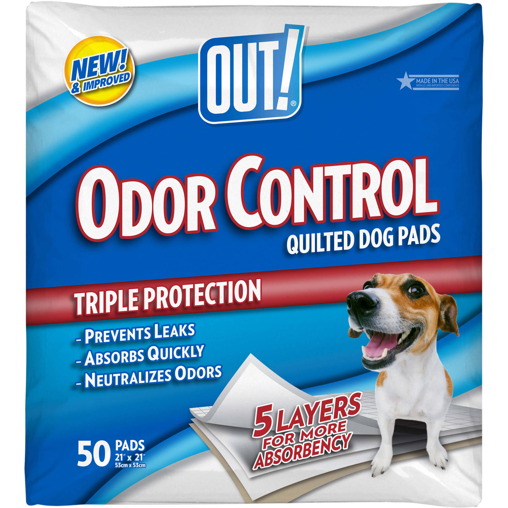 "OUT! Odor Control Quilted Dog Pads, 50ct, 21"" x 21"""