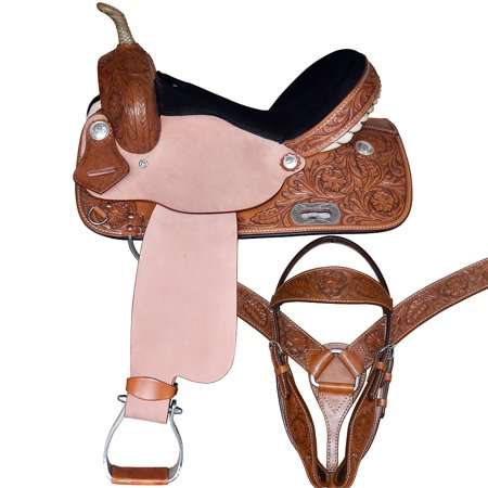 16 GREAT AMERICAN WESTERN LEATHER HORSE SADDLE BARREL RACING TRAIL PLEASURE TACK ()