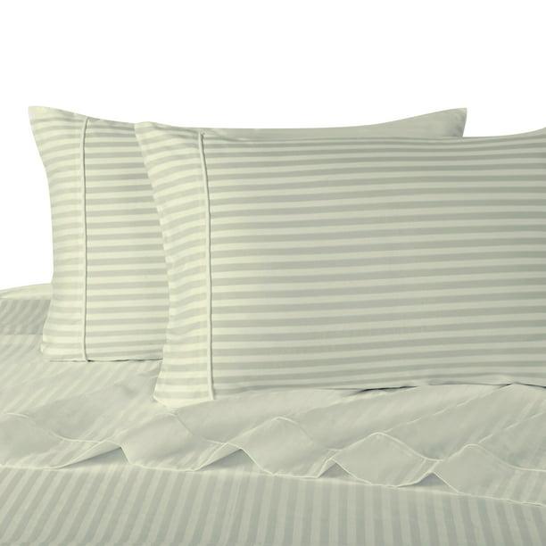 100 Cotton Sateen Bed Sheet Set 300 Thread Count Damask Striped Olympic Queen Linen Walmart Com Walmart Com