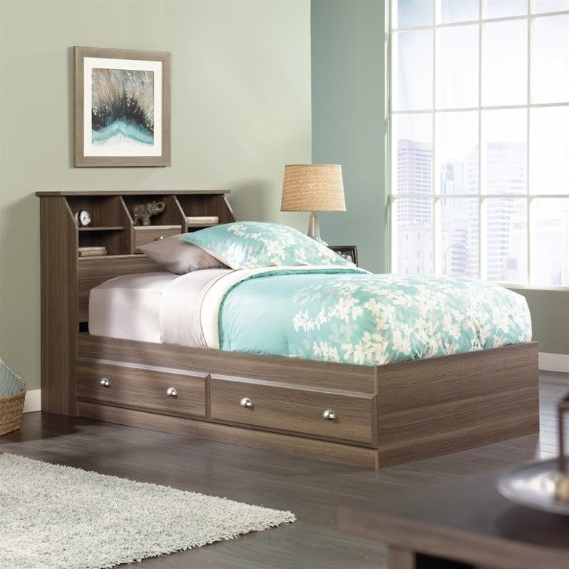 Sauder Shoal Creek Twin Mates Bookcase Bed in Diamond Ash