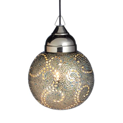 """14"""" VedaHome Iron and Glass Lighting Silver & Teal Scroll Round Ceiling Pendant Light"""