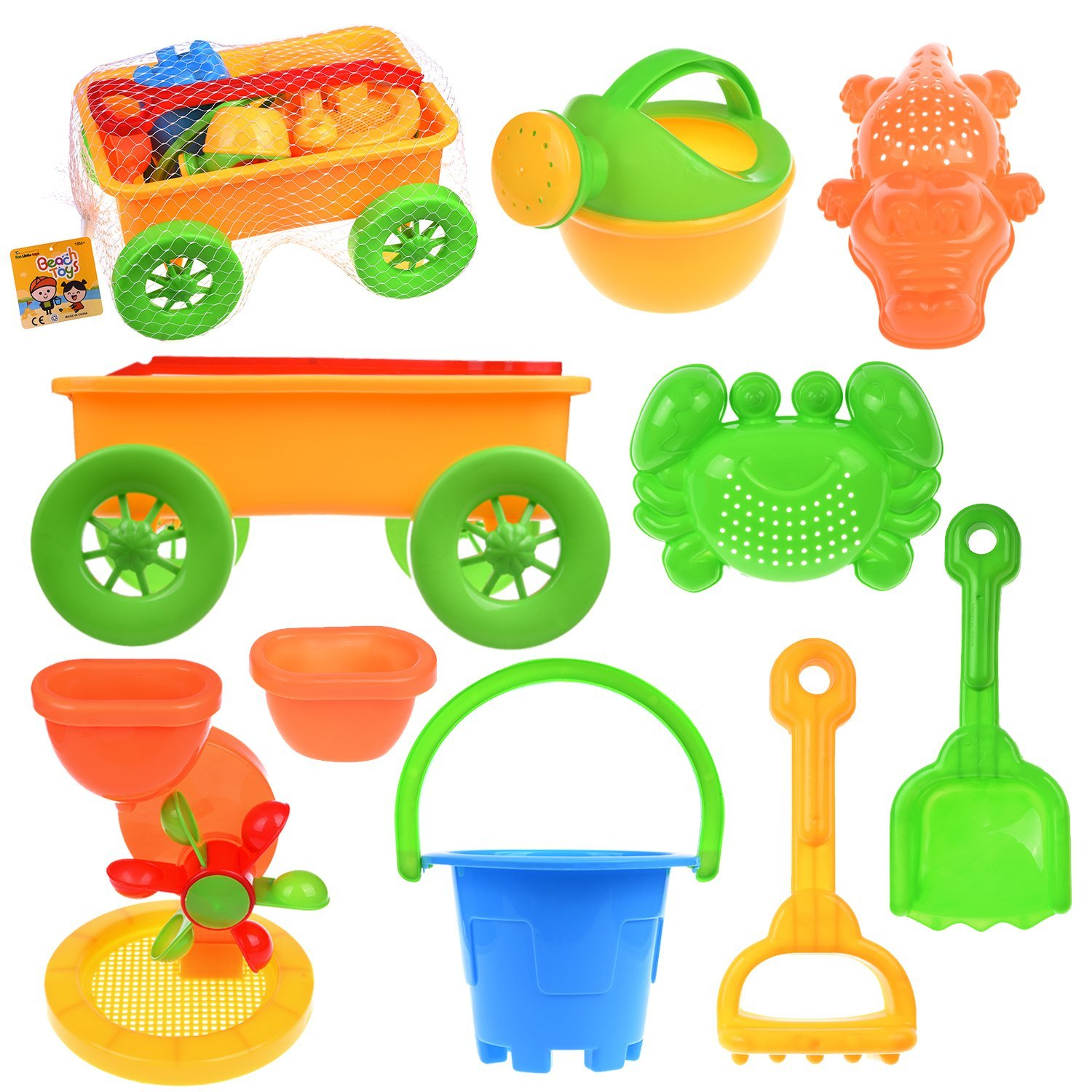 Beach Sand Toys for Kids Summer Outdoor Activities Educational Pretend Play Set with Sand Wheel for Watering Can,... by Fun Little Toy