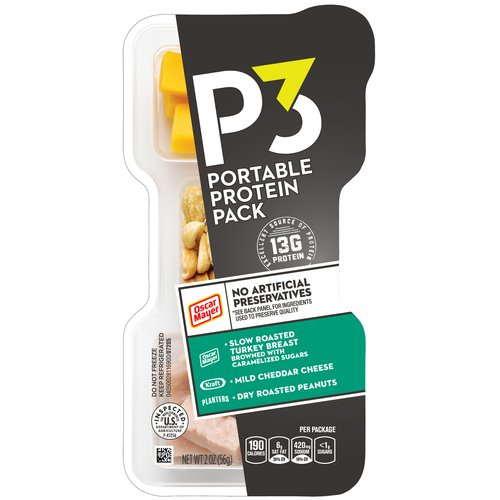 Oscar Mayer P3 Turkey, Cheddar & Dry Roasted Peanuts Portable Protein Pack, 2 oz