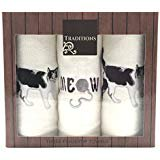 Holiday Christmas Cotton Tip Towels Decorative Embroidered Cat Design 3 Piece Gift Pack Black and