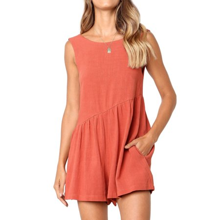 711ONLINESTORE Women Sleeveless Open Back Ruched Rompers with Pocket