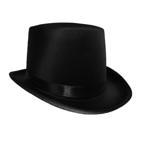 Black Satin Top Hat Magician Gentleman Adult 20's Costume Tuxedo Victorian - Hat Costumes For Adults