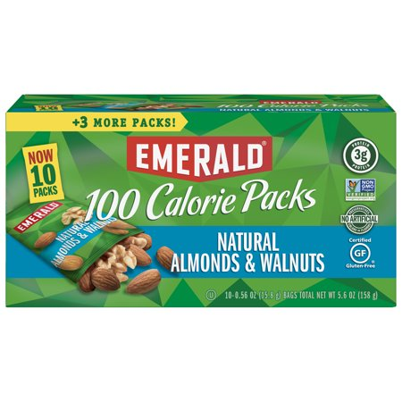 Emerald Nuts Natural Walnuts and Almonds, 100 Calorie Packs, 10 -