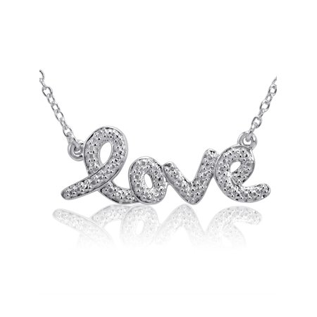 Sterling Silver LOVE Necklace with a Diamond Accent ( 17.5 inches) Diamond Accent Love Necklace