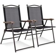 Set of 2 Patio Folding Sling Back Chairs Camping Deck Garden Beach Black