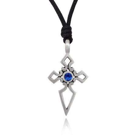 Blue Cross Crystal Jesus Silver Pewter Charm Necklace Pendant Jewelry With Cotton Cord