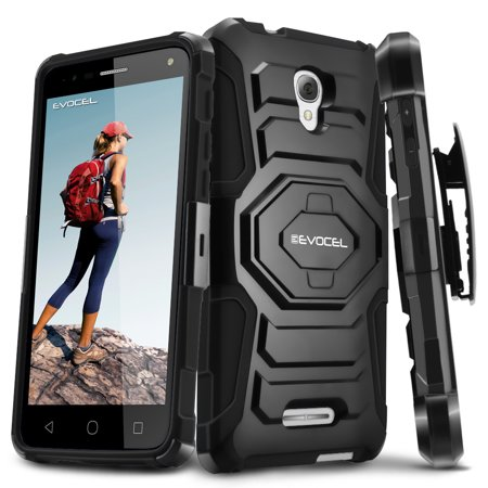 Alcatel OneTouch Fierce 4 Case, Evocel [Belt Clip Holster] [Kickstand] [Dual Layer] New Generation Phone Case for Alcatel OneTouch Fierce 4 5056 (T-Mobile/MetroPCS), (Alcatel One Touch Fierce Prepaid Cell Phone)