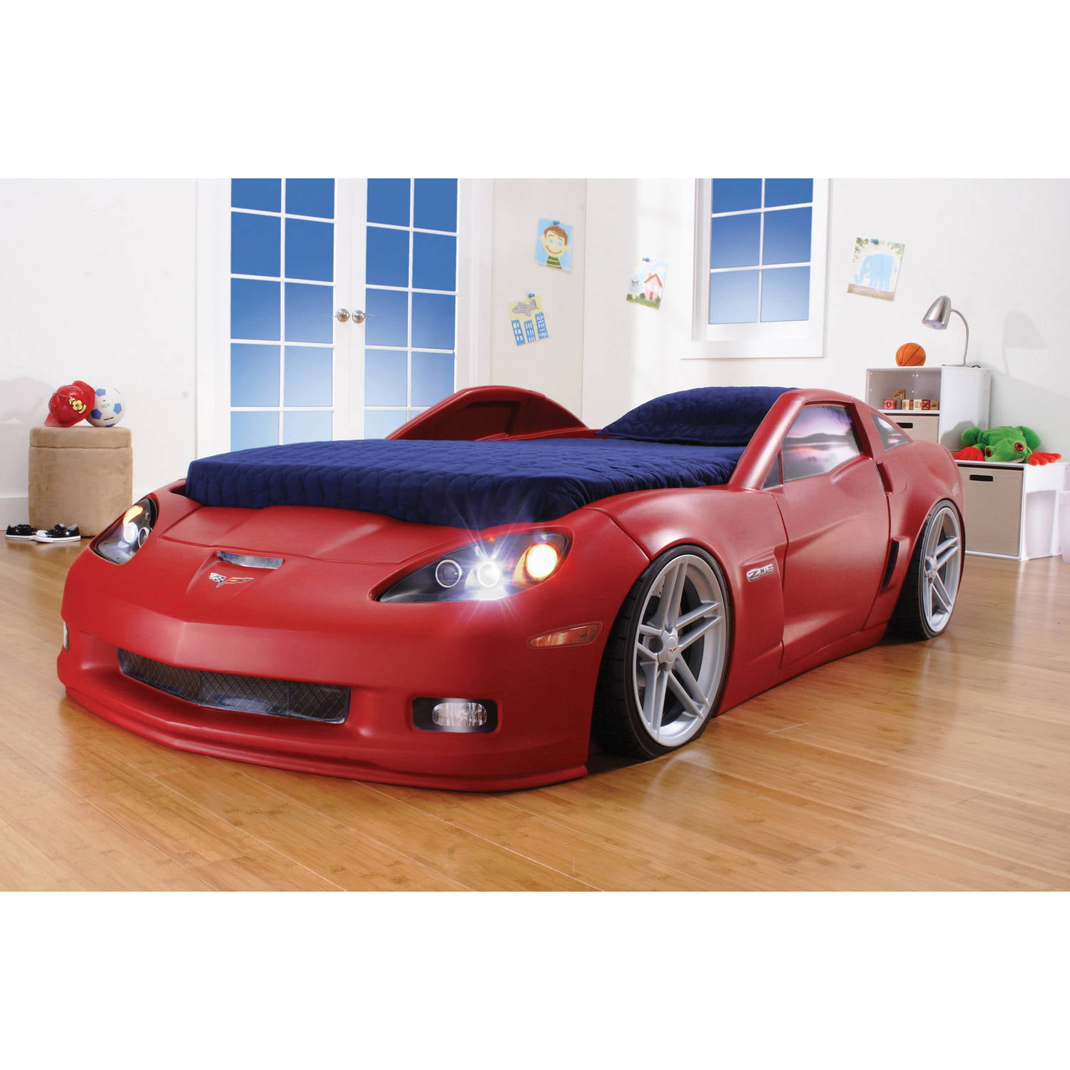 costway new kids race car bed toddler bed boys child furniture red wooden walmartcom
