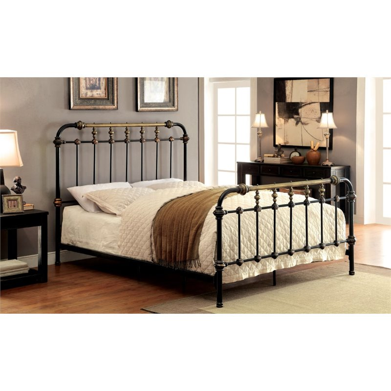Furniture of America Cecil California King Metal Spindle Bed in