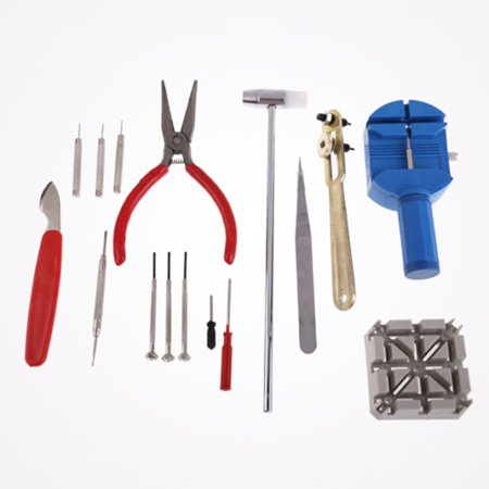 Intbuying 16pcs Watch Repair Tool Kit Band Pin Strap Link Remover Back Opener Remover #241058 ()