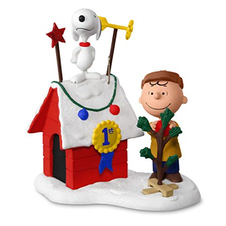 Hallmark Keepsake 2017 Peanuts Charlie Brown And Snoopy Decked Out Doghouse Sound Christmas Ornament With Light