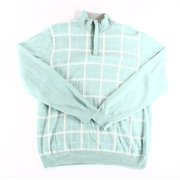 Tasso Elba NEW Green Seaglass Mens Size Medium M 1/2 Zip Grid-Print Sweater