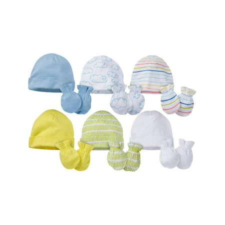 Onesies Brand Caps and Mittens Accessories Set, 12pk Bundle (Baby Boys or Baby Girls,