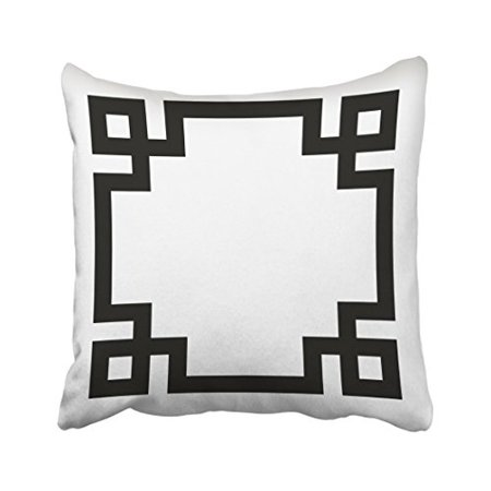 WinHome Decorative Decors Black And White Greek Key Border Throw Pillow Case Cushion Cover Home Sofa Decorative Size 20x20 inches Two