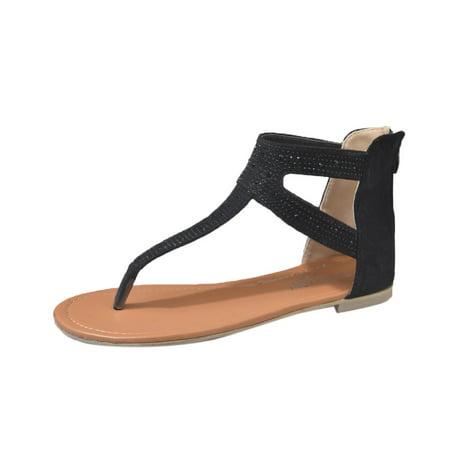 MIARHB Women Diamond Zipper Gladiator Low Flat Flip Flops Beach Sandals Bohemia Shoes