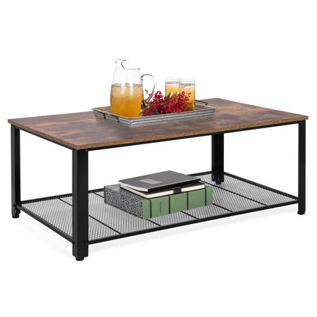 Best Choice Products 42in 2-Tier Rustic Industrial Coffee Cocktail Table, Living Room Accent Furniture w/ Wood Finish Top, Metal Mesh Storage Shelf, Adjustable