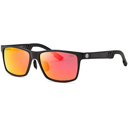 Hawaiian Island Creations Polarized Rectangular Classic Designer Aluminum High Quality Sunglasses WLF - Black Frame / Red Revo Lenses