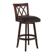 "Armen Living Sonoma 26"" Counter Height Swivel Wood Bar Stool with Finish and Brown Pu by Wooden Bar Stools"