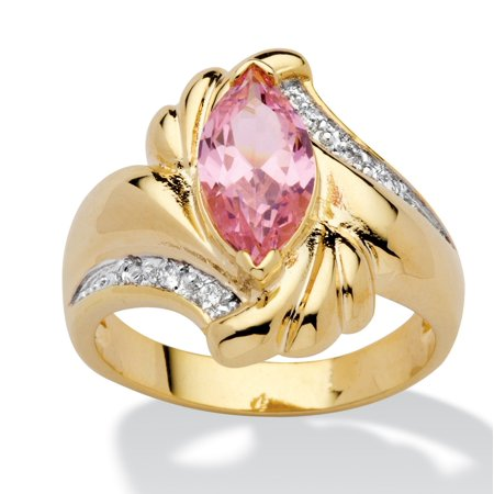- 2.05 TCW Marquise-Cut Pink Cubic Zirconia Ring in 14k Gold-Plated