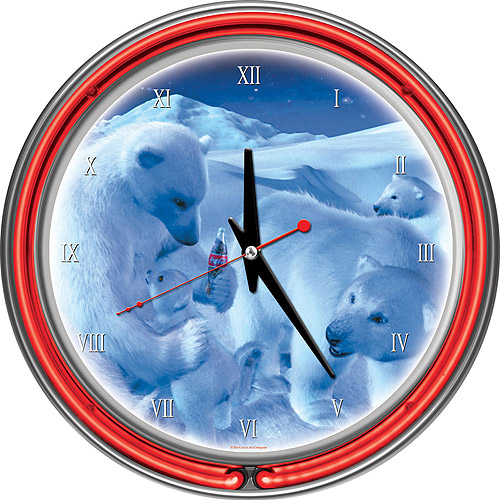 "Coca-Cola 14"" Neon Wall Clock, Polar Bears with Coke Bottle Nest"