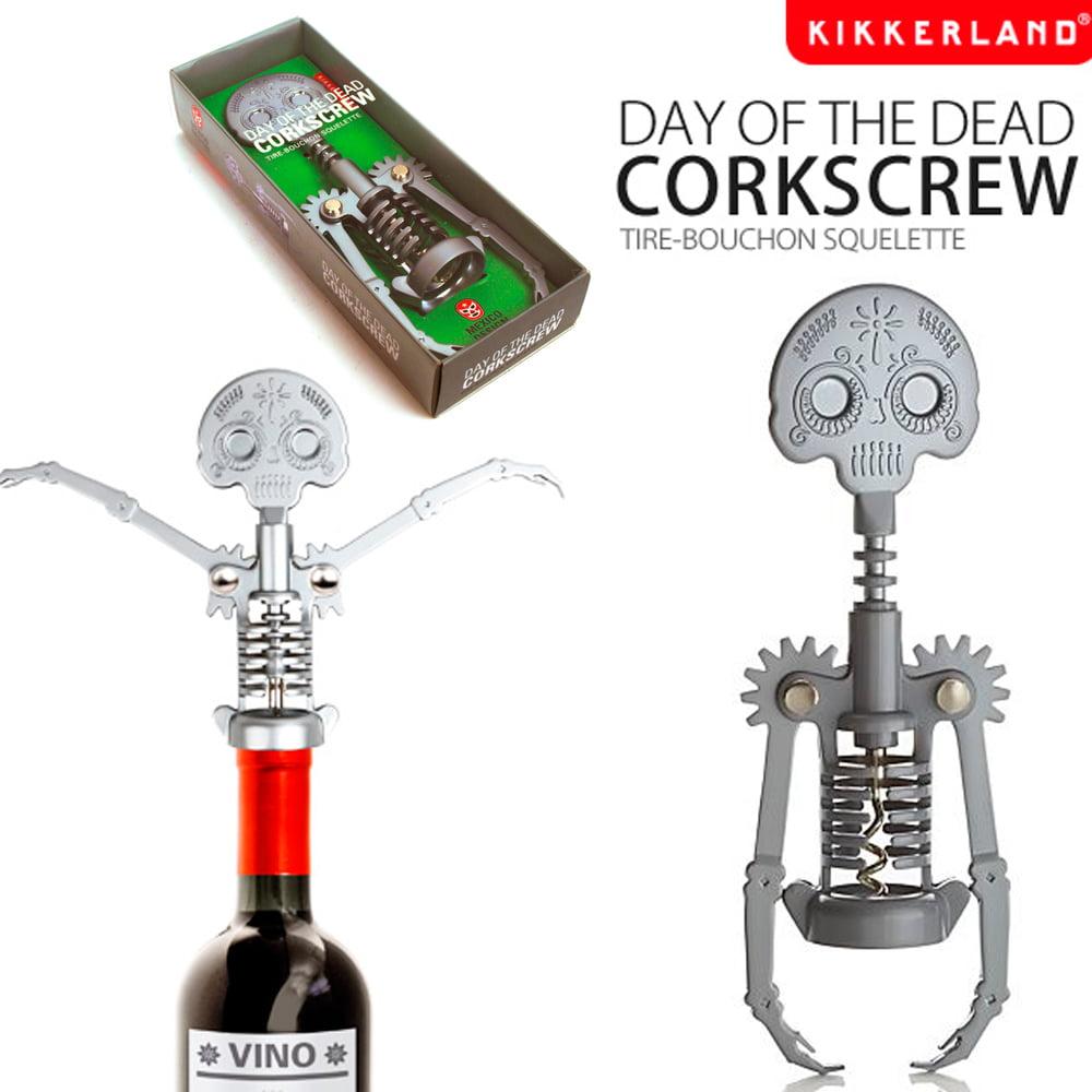 Dia De Muertos Dead Steel Skull Corkscrew Wine Bottle Opener Skeleton Kikkerland by Kikkerland