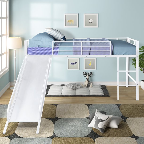 Twin Metal Loft Bed with Slide,Low loft, Strong Slide, Best Choice for Child ,No Box Spring Needed, Three colors Available White with White Slide)