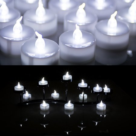 Lot 100 Battery Operated LED Cool White Tea Light Candle Flickering Flashing