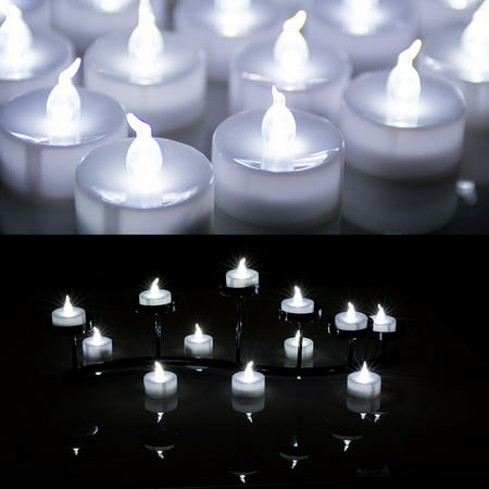 Battery Operated Tea Lights Bulk (Lot 100 Battery Operated LED Cool White Tea Light Candle Flickering)