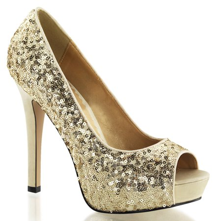 san francisco get new shop best sellers Womens Peep Toe Gold Sequin Pumps Sparkly Dress Shoes with 4.75 Inch Heels