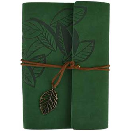 Green Tree Leaf Embossed Genuine Leather Writing Creative Journal Diary Dream Notebook Includes Leather Strap Wrap Around Cord With Attached Leaf Charm 5