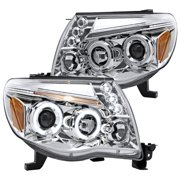 Spec-D Tuning Compatible with 2002-2011 Toyota Tacoma Led Halo Chrome Projector Headlights Lamps 2005 2006 2007 2008 2009 2010