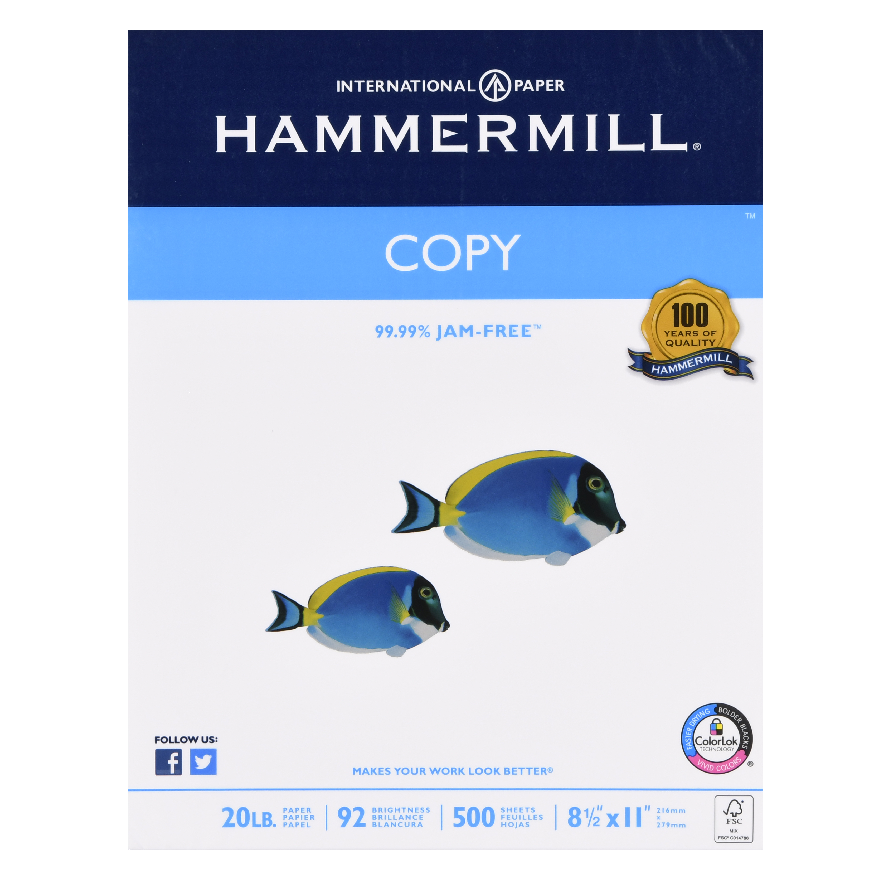 Hammermill Copy Paper, 8.5x11In, 20 lb, 92 Bright, 1 Ream, 500 Sheets