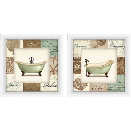 beach bath 14x14 wall art. Black Bedroom Furniture Sets. Home Design Ideas