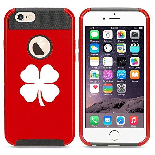 Apple iPhone SE Shockproof Impact Hard Soft Case Cover 4 Leaf Clover Shamrock (Red),MIP