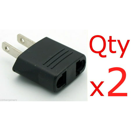 2 Pack of Black North American - Euro Asia to US-Style Adapter Plug Charger Converters