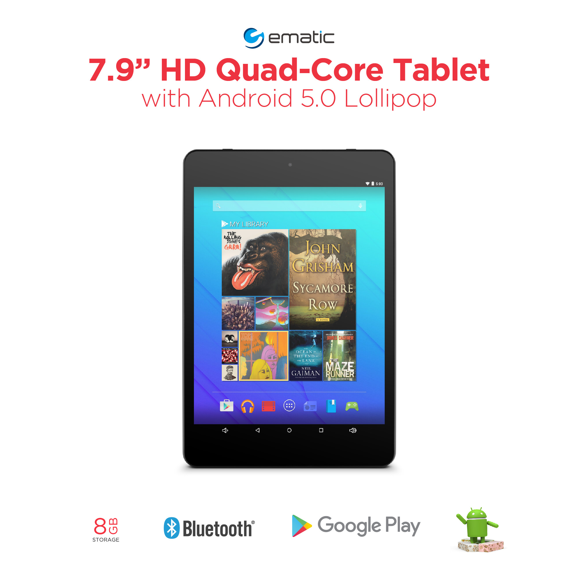 "Ematic HD with WiFi 7.9"" Touchscreen Tablet PC Featuring Android 5.0 (Lollipop) Operating System, EGQ178"