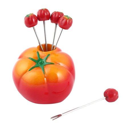 Household Plastic Tomato Design Appetiser Snack Fruit Vegetable Fork Holder Set ()