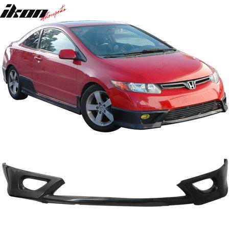 Compatible with 06-08 Honda Civic Coupe 2Dr Front Bumper Lip Spoiler PU Black FD Fa