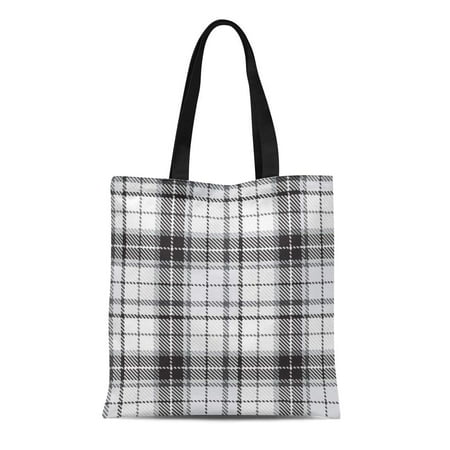 LADDKE Canvas Tote Bag Plaid Checkered Pattern Abstract Woven Wool Checks Garment Geometric Durable Reusable Shopping Shoulder Grocery Bag