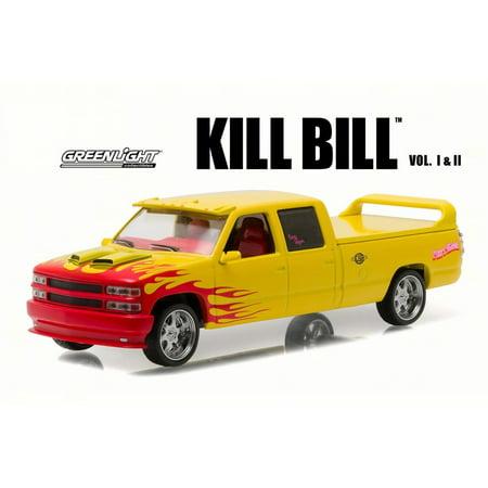 Kill Bill 1997 Custom Crew Cab Pussy Wagon Pick-Up Truck, Yellow - Greenlight 86481 - 1/43 Scale Diecast Model Toy