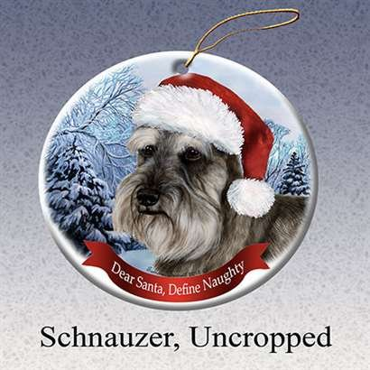 Holiday Pet Gifts Schnauzer (Un-Cropped) Santa Hat Dog Porcelain Christmas Tree Ornament