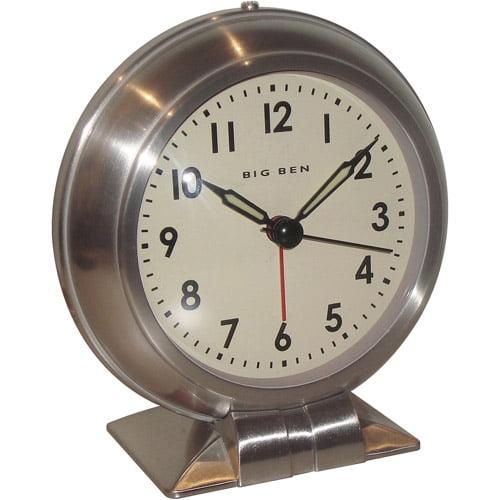 Big Ben Quartz Nickel Alarm Clock, Brushed Nickel