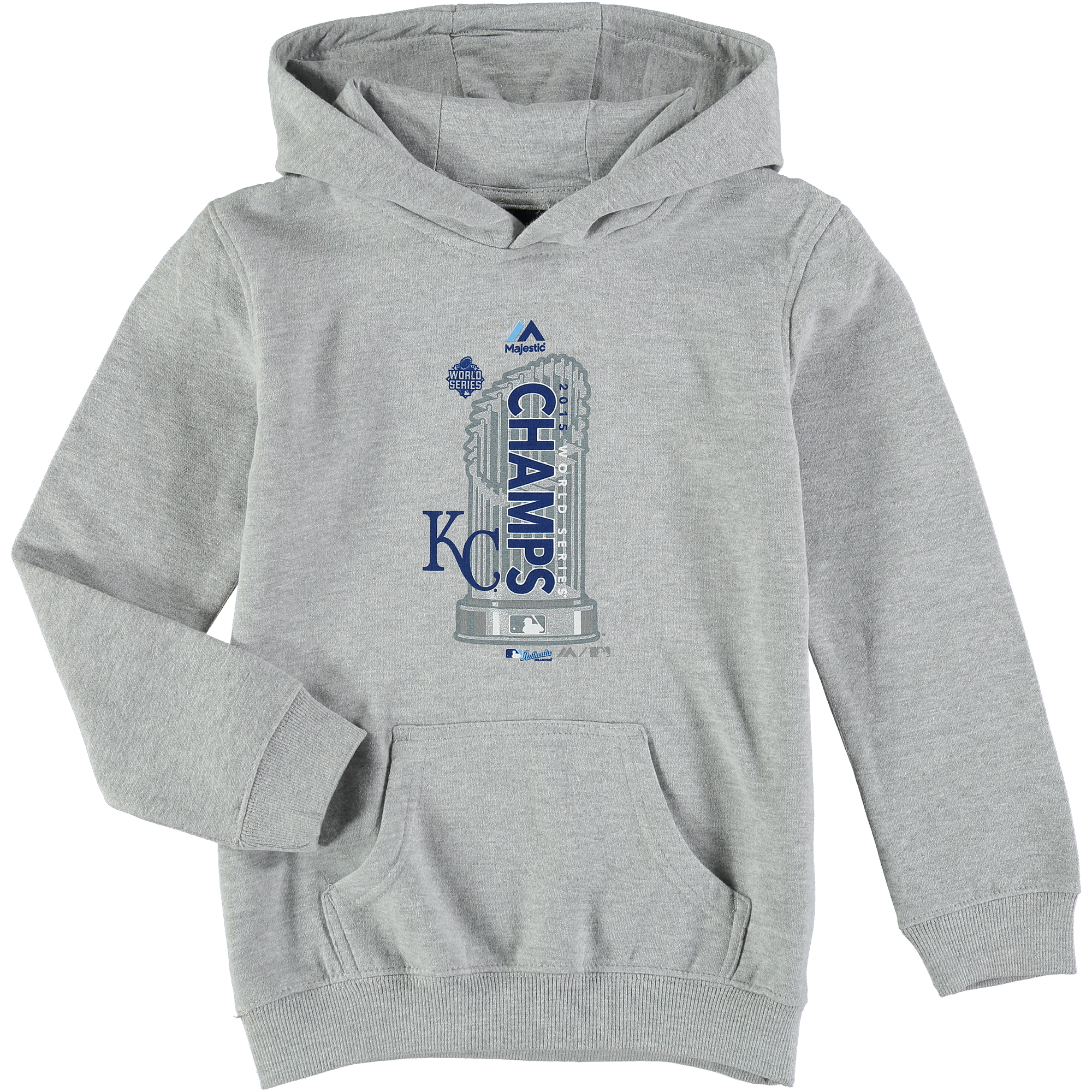 Kansas City Royals Majestic Youth 2015 World Series Champions Locker Room Pullover Hoodie - Steel