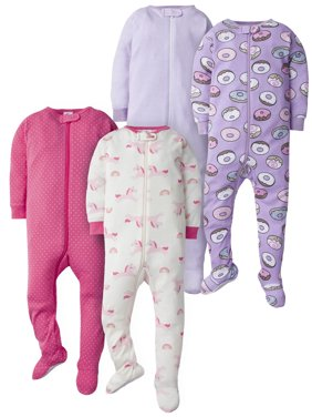 Gerber Baby Girl Footed Snug Fit Union Suit Pajamas, 4-Pack